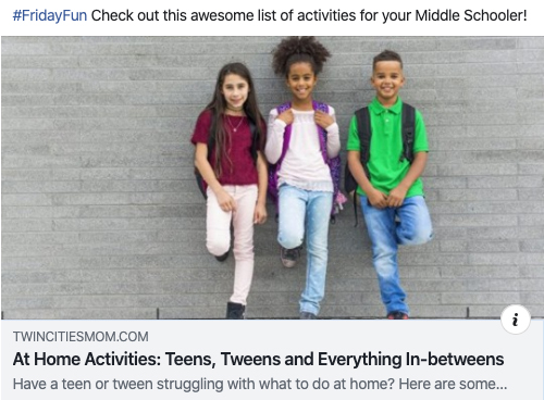 Article: At Home Activities: Teens, Tweens and Everything In-betweens